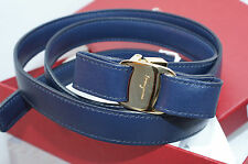 New Salvatore Ferragamo Womens Navy Belt Reversible Size XL Blue Leather