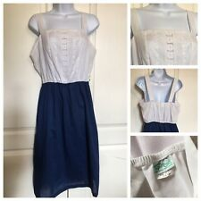 Vtg 1980s Top Made 16 1/2 XL Sundress Halter Dress White Lace Navy Maxi Usa