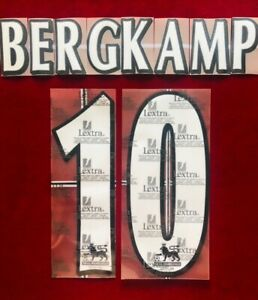 1997/06 Arsenal FC EPL #10 BERGKAMP Soccer Home VELVET/FELT Name Set