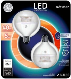 GE LED 40W Globe Clear Candelabra LED5DG16-C3/TP2P (2Pack)