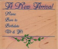 new arrival notice embossing arts Wood Mounted Rubber Stamp 3 1/2x 3""
