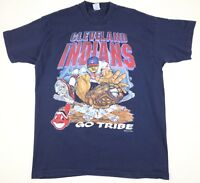 Cleveland Indians GO TRIBE Chief Wahoo Shirt Size XL Vintage 1994 90s MLB #1