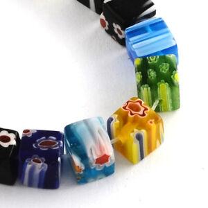 "6mm Cube Handmade Millefiori Glass Beads For Jewelry Making 65pcs/strand 15.3"""