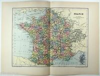 Original 1895 Map of France by  W & A.K. Johnston. Antique