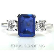 Sapphire and Diamond Trilogy Ring in 18ct White Gold: 2ct Vibrant Blue Sapphire