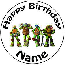 """Personalizzato Compleanno TMNT TARTARUGHE skate ROUND 8"""" facile PRETAGLIATO GLASSA cake topper"""