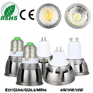Dimmable COB LED Spotlight Bulb E27 GU10 MR16 GU5.3 6W 9W 12W Bright Lamps ERM