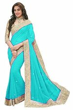 Indian Ethnic Chiffon Blue Printed Saree Sari D.No SAR2703