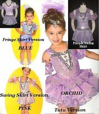 On A Mission Dance Costume PURPLE LEOTARD and SWING SKIRT Jazz Tap Child X-Small