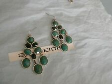 Premier Designs CANDY green turquoise silver earrings RV $34 free ship new