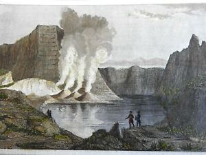 Luzon Island Philippines 1839 Volcano & Lake engraved landscape view