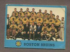 1962-63 Topps Hockey No. 22 Bruins Team Card Vg
