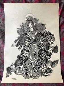Vintage IMAMURA Black Ink Drawing Japanese PARIS Religious Angels Cherub SIGNED