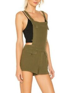 Free People OB814991F Expedition Denim Shortalls Overalls Shorts Army Green M