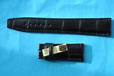 Luisiana cocodrilo más de lo uhrband 20mm para IWC faltschließe (18mm) negro