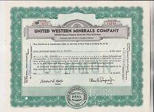 1958 UNITED WESTERN MINERALS COMPANY STOCK CERTIFICATE - DELAWARE