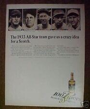 1966 Seagram 1933 Baseball All-Star Team Photo Print Ad