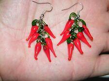 RED CHILI PEPPER EARRINGS LAMPWORK GLASS CINCO DE MAYO FIESTA SILVER EAR WIRES!
