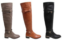 Womens Knee High PU Boots Flat Heels Gold Buckle Zip Long Riding Biker Shoes UK