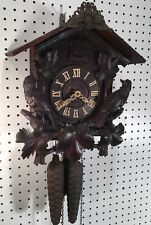 Early Wooden Bird German Black Forest Cuckoo Wall Clock Highly Carved Hands