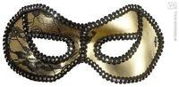 Gold Black Lace Eye Mask - Masquerade Ball Venetian Fancy Dress