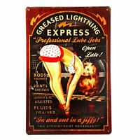 "Greased Lightning Professional Lube Jobs Garage Mechanic Tin Metal Sign 8"" x 12"""