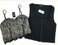 Express Womens XS Crop Top Zip Front & Blace Lace Bustier Tank Spaghetti Strap 2