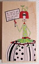 """New Large 5.25"""" x 3"""" Get Rid Of The Kids Cat Rubber Stamp #80392 Stamps Happen"""