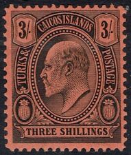 TURKS ISLANDS 1909 KEVI CACTUS 3/-