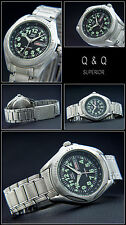 Sporty Diver Model Q&q Mens Watch Stainless Steel Tag / Date Easy to Read New
