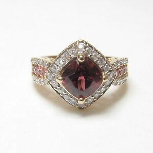 Estate 14K Yellow Gold 2.20 Ct Natural Rhodolite Garnet, Sapphire, Diamond Ring