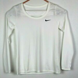 Nike Dri-Fit Womens Size Large White Long Sleeve Tee T Shirt Athletic Athleisure