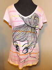 new Disney dark goth Tinkerbell fairy t-shirt casual  lg 11-13 pink Peter Pan