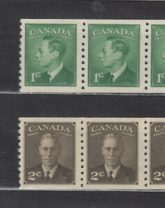 """1950 #297 1¢ & #298 2¢ KING GEORGE VI WITH """"POSTE-POSTAGE"""" COIL PAIRS F-VFNH"""