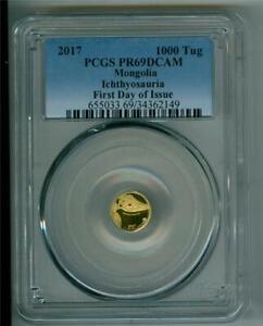 MONGOLIA 2017 1000 TOGROG Ichthyosauria 0.5g .9999 GOLD PCGS PR-69DCAM