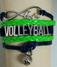 VOLLEYBALL LEATHER CHARM BRACELET ADJUSTABLE-LIME GREEN/NAVY BLUE -SPORTS#149