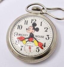 Vintage Walt Disney Mickey Mouse Pocket Watch by Bradley - Runs