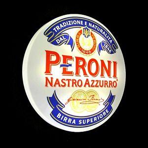 PERONI Light up LED bar wall sign logo Pub Beer Lager ale man cave garage shed