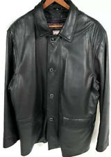 Reilly Olmes Black Soft Leather Car Coat Jacket Sz L Zip Out Thinsulate Lining