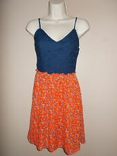 Delia's Womens Size S Spaghetti Strap Mini Dress Solid and Floral Lined