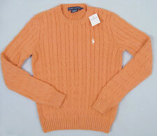 Polo Ralph Lauren Cable Knit Womens Sweater 2 Pastel Type Colors Crewneck Melon Orange Regular M