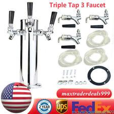 Triple Tap 3 Faucet Stainless Steel Draft Beer Tower Bar Pub Homebrew Kegerator
