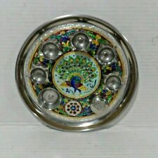 Puja Thali Metal Tray with Peacock