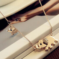 Cute Elephant Family Stroll Pendant Charm Crystal Rhinestone Gold Chain Necklace
