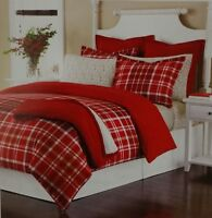 Martha Stewart Collection Full/Queen Winter Tartan Red Flannel Comforter Cover