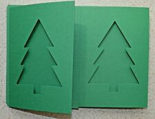 5 Double fold card Blanks 148mm x 105mm - Christmas Tree Apertures Dk Green New