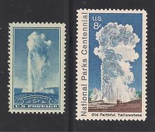 OLD FAITHFUL - YELLOWSTONE NATIONAL PARK - 2 U.S. POSTAGE STAMPS -MINT CONDITION