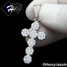 MEN 925 STERLING SILVER LAB DIAMOND ICED OUT BLING CROSS CHARM PENDANT*SP160
