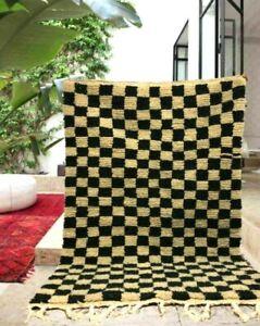 Checkred Carpet Handmade Rug Stunning Hallway Teppich Runner Black White Wool