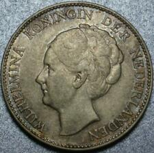 "1930 NETHERLANDS Naturally TONED Silver ""GULDEN"" Fully ORIGINAL Queen WILHELMINA"